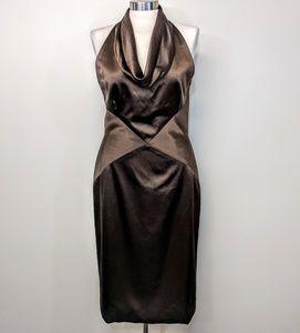 $600 Eric Gaskins 4-Ply Silk Halter Dress